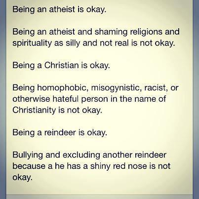 Being a Christian is okay.