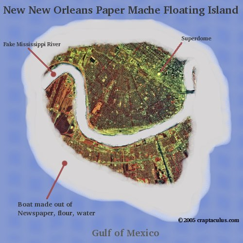 A giant floating paper mache island: New New Orleans suggested site